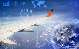 wing of airplane flying above the clouds in the sky,transportation concept,,Elements of this image furnished by NASA.