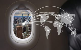 Chicago city at airplane windows with world connection